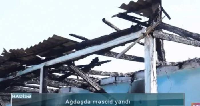 Məscid yanaraq külə döndü - VİDEO