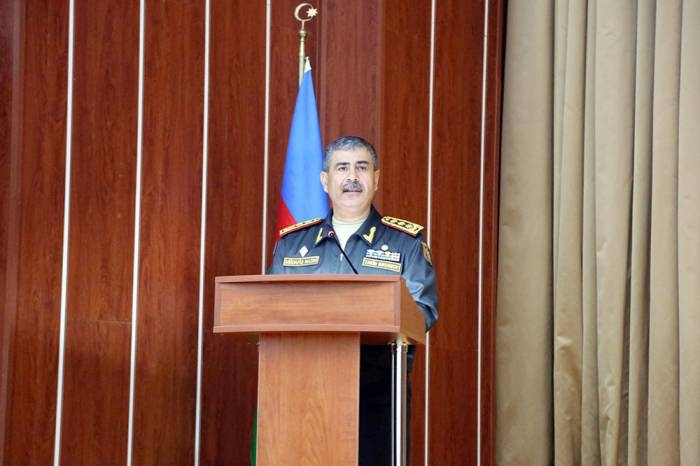 Azerbaijan's Zakir Hasanov meets officers on work with personnel