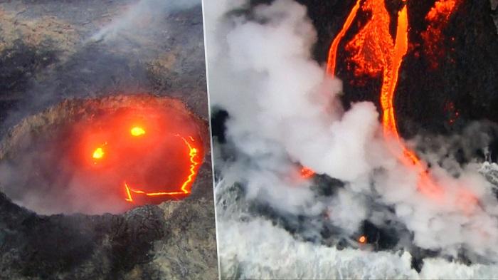 Lächelnder Vulkan spuckt Feuer auf Hawaii- VIDEO