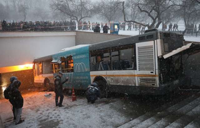 Bus plows into public transport stop in Moscow
