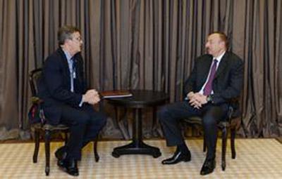 Azerbaijani President meets Chairman of Global Partnerships at Swiss Re AG