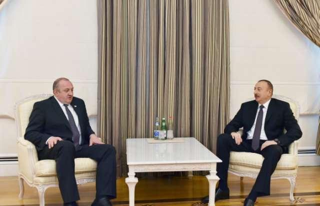 Treffen zwischen Präsident Ilham Aliyev und Georgiens Präsident Giorgi Margwelaschwili