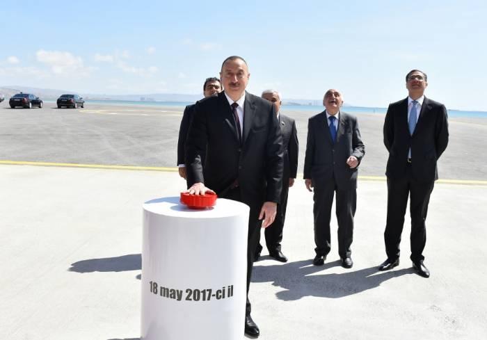 İlham Əliyev qazma qurğusunun açılışında - Fotolar