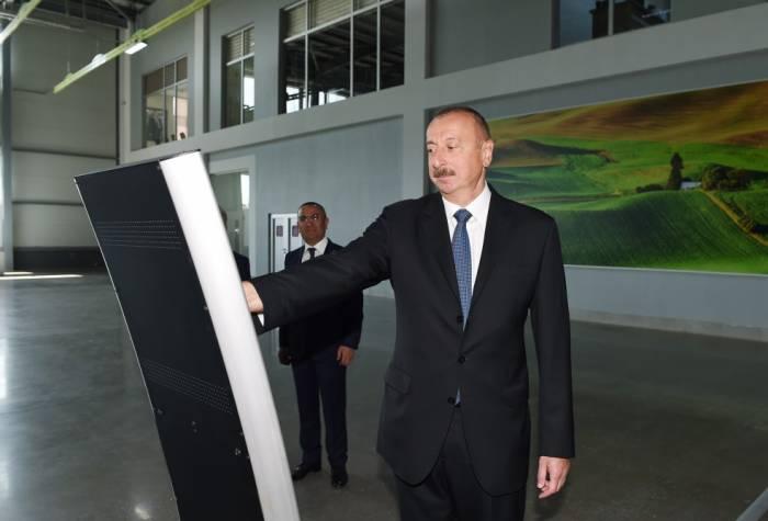 """Prezident """"Şəmkir Aqroparkı""""nın Logistika Mərkəzində"""