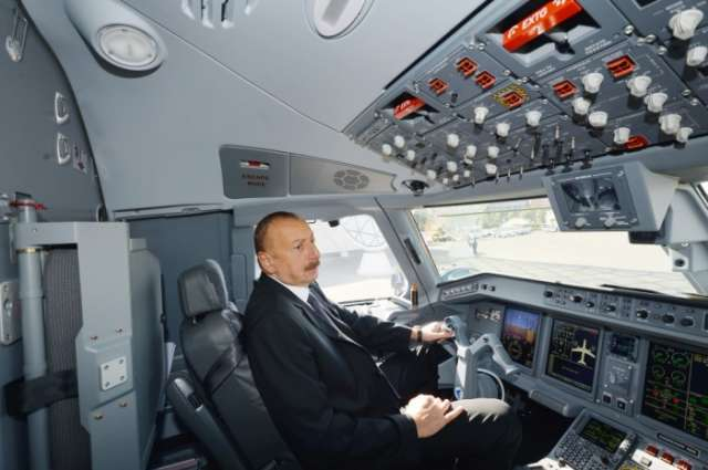 Azerbaijani president reviews first Embraer 190 plane of Buta Airways in Baku - PHOTOS
