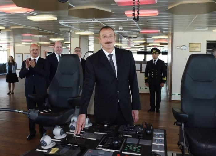 """Prezident """"Xankəndi"""" gəmisində - Yenilənib (FOTOLAR)"""