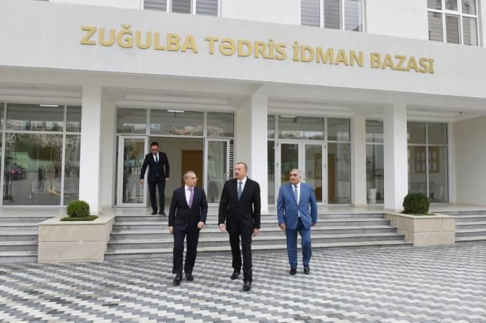 Prezident Zuğulbada idman bazasının açılışında - FOTOLAR (Yenilənib )