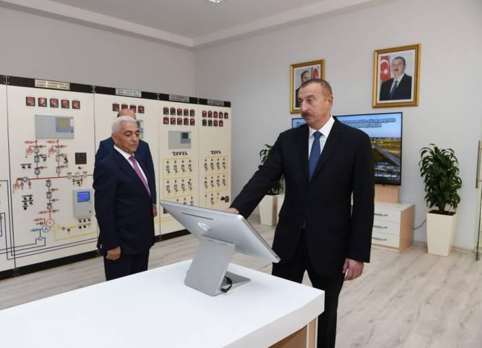 Le président Ilham Aliyev a participé à l'inauguration d'une sous-station électrique à Neftchala
