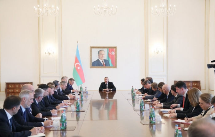 President Ilham Aliyev holds negotiations with delegation of Council of European Union