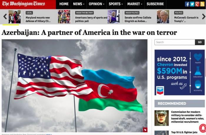 The Washington Times: L'Azerbaïdjan est le partenaire des Etats-Unis dans la lutte contre le terrorisme