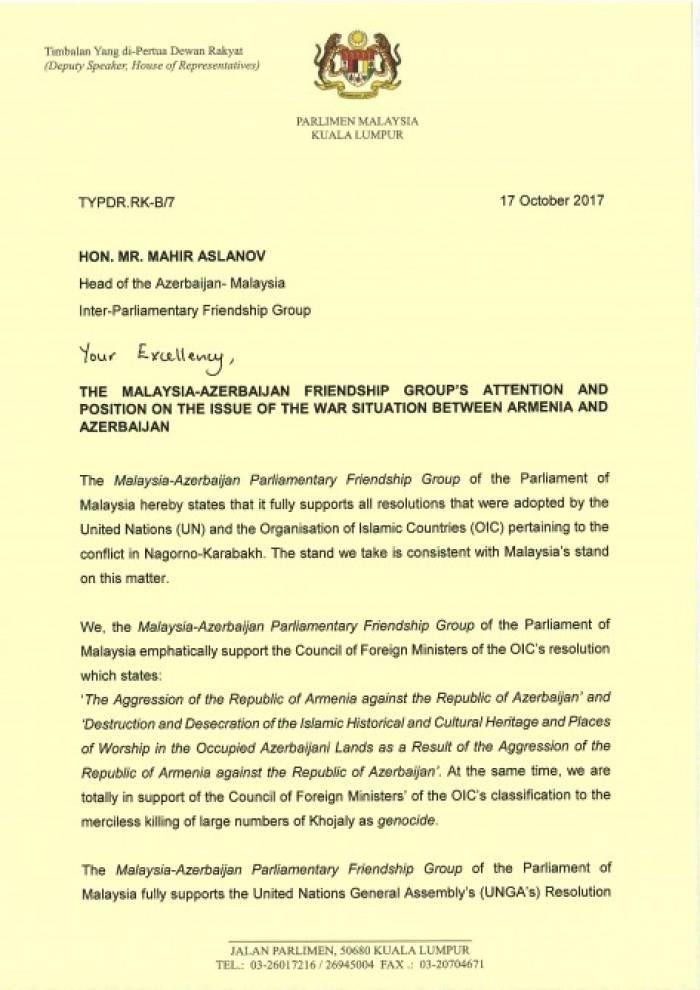 Malaysia unterstützt alle internationale Dokumente, die über territoriale Integrität Aserbaidschans angenommen sind