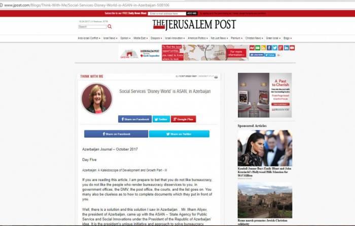 """""""The Jerusalem Post"""": ASAN ist """"Walt Disney"""" öffentlicher Dienste in Aserbaidschan"""