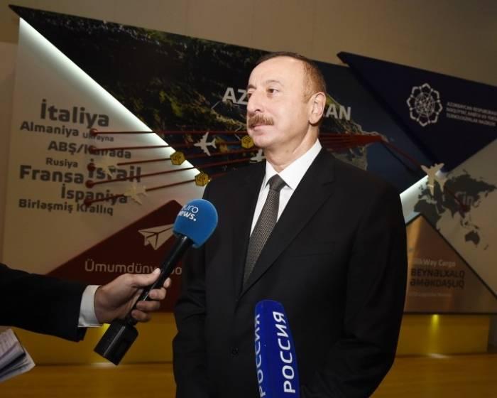 """Prezident """"Euronews"""" və """"Rossiya-24""""-ün suallarını cavablanırdı"""