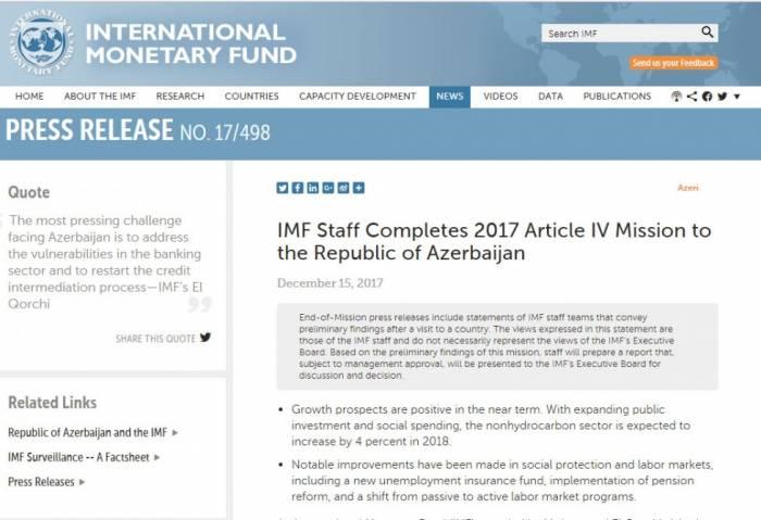 IWF erwartet für aserbaidschanischen Nichtölsektor 2018 ein Wachstum von 4 Prozent