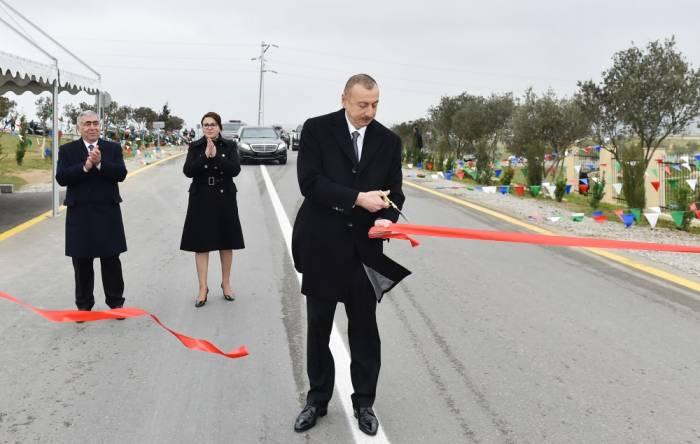 Prezident yol açılışında iştirak etdi - Yenilənib (FOTOLAR)