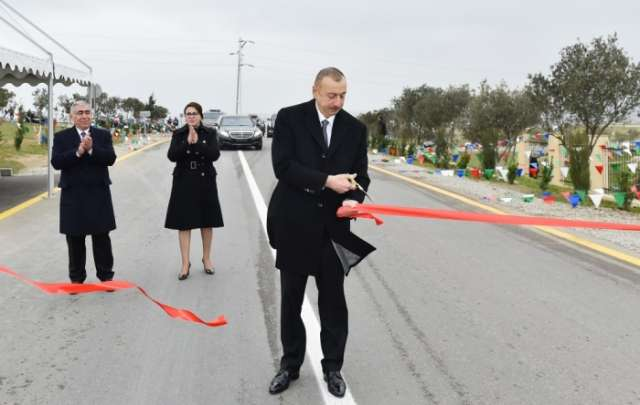 Azerbaijani president attends opening ceremony of new road - PHOTOS