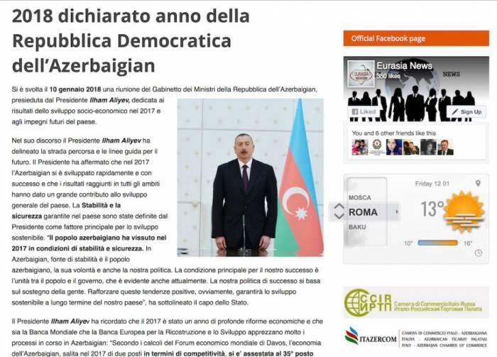 Prezidentin çıxışı İtaliya KİV-lərində işıqlandırılıb