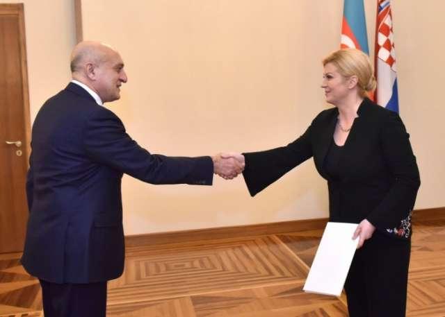 Azerbaijan`s Ambassador presents his credentials to President of Croatia