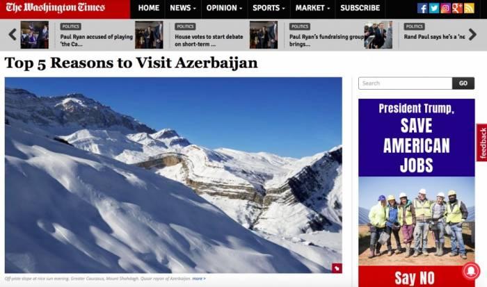 """""""The Washington Times"""": 5 səbəbə görə Azərbaycana getmək mütləq lazımdır"""