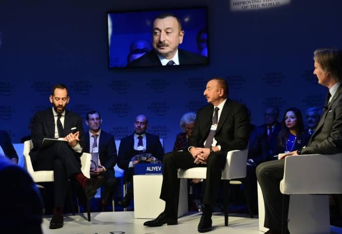 Prezident Davosda iqtisadi prioritetləri açıqladı - YENİLƏNİB (VİDEO)
