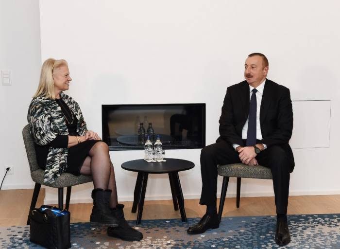 President Aliyev meets CEO of IBM company in Davos