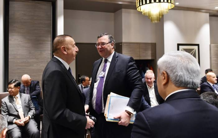 Azerbaijani President Ilham Aliyev attends oil and gas panel within forum in Davos