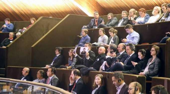 Voiceless protest against Armenian president at PACE - PHOTO