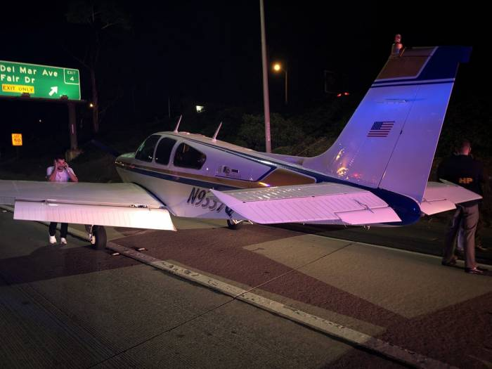Plane makes emergency landing on freeway near Los Angeles