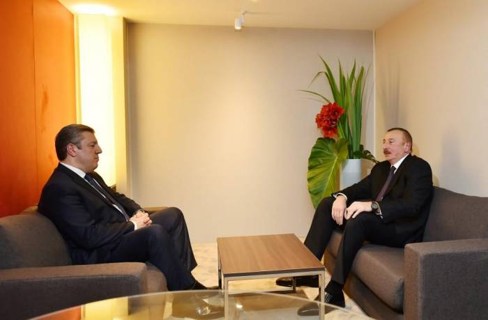 President Aliyev meets Georgian PM in Davos