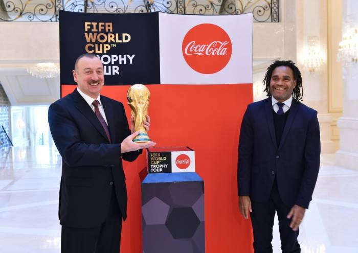 Trophy of 2018 FIFA World Cup presented to Azerbaijani president - PHOTOS