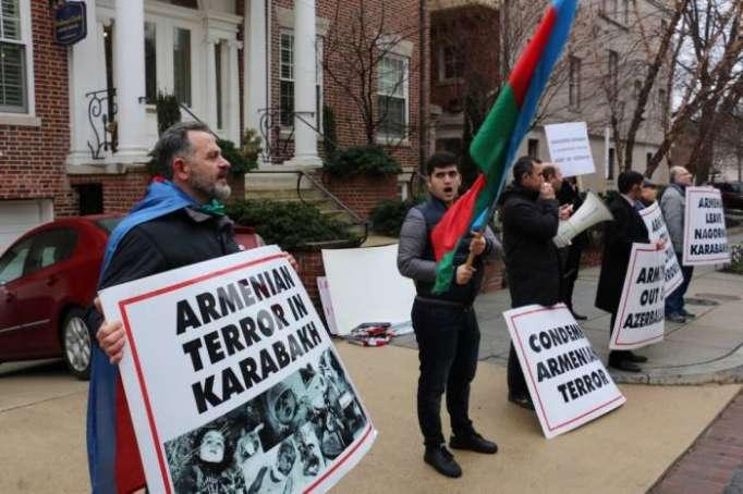 Anti Armenischer Protest Vor Der Armenischen Botschaft In Usa