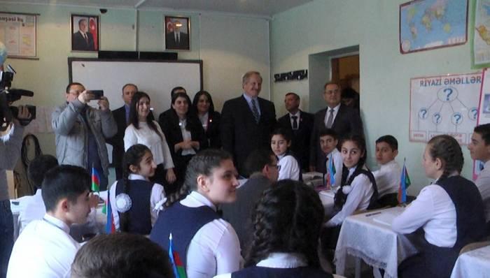 U.S. ambassador visits school built for IDPs in Baku