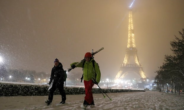 Sacré blanc! Eiffel Tower closes as snow blankets Paris and northern France