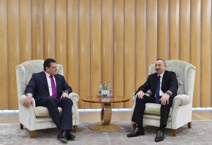 President Ilham Aliyev meets with Maros Sefcovic