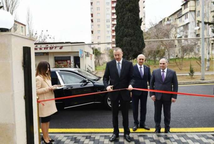 Azerbaijani president attends opening of administrative building of Baku City Statistical Department