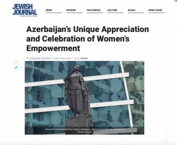 Jewish Journal: Azerbaijan's unique appreciation and celebration of women's empowerment