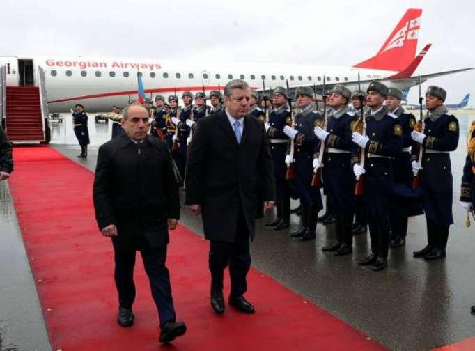 Gürcü baş nazir Bakıya gəldi - FOTOLAR