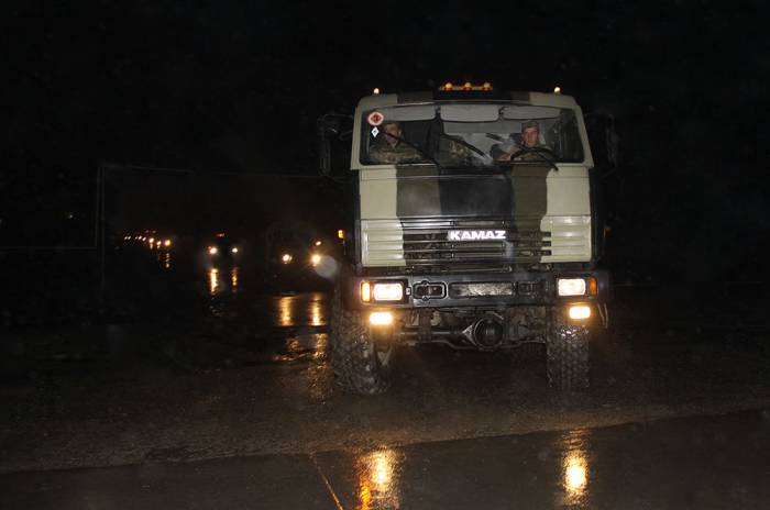 Azerbaijani troops redeployed at night during training