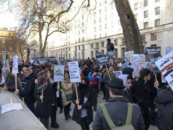 Hundreds protest outside Downing Street over Saudi Crown Prince