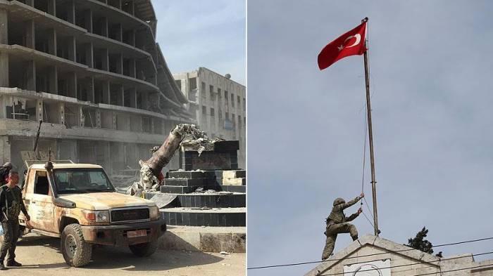 Afrinin mərkəzində Türkiyə bayrağı qaldırıldı - VİDEO