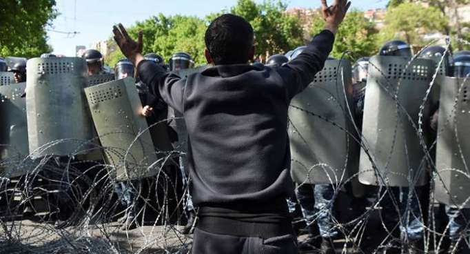 Armenian police trying to disperse protesters in Yerevan