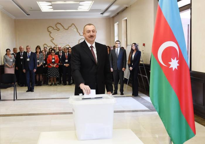 President Ilham Aliyev casts vote in presidential elections