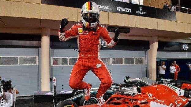 Bahrain GP: Sebastian Vettel wins, Lewis Hamilton third after fine overtake