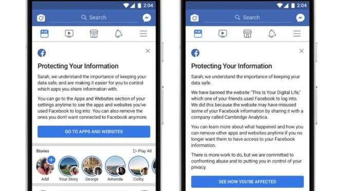Facebook: Cambridge Analytica warning sent to users