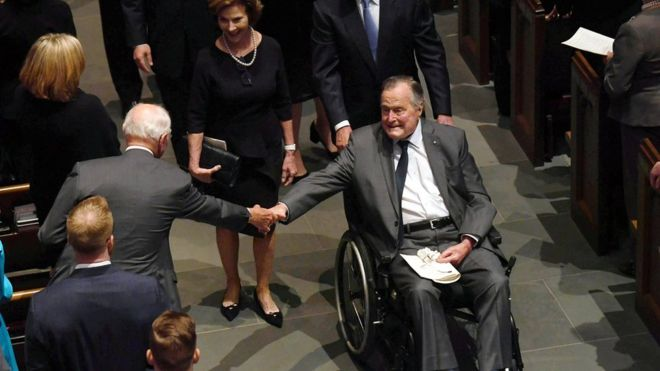 George H W Bush hospitalised a day after his wife