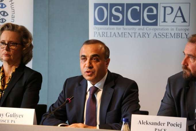 Azay Guliyev makes speech on the OSCE/ODIHR's observation mission for 11 April Presidential election