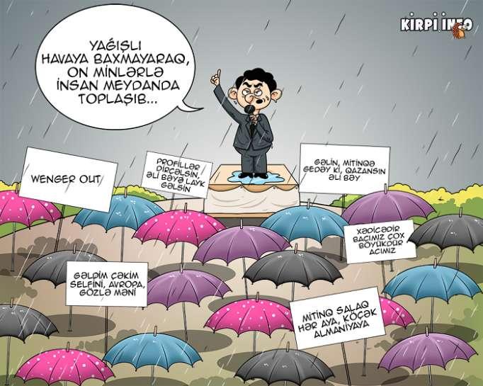 Yağışlı və qafiyəli mitinq – KARİKATURA