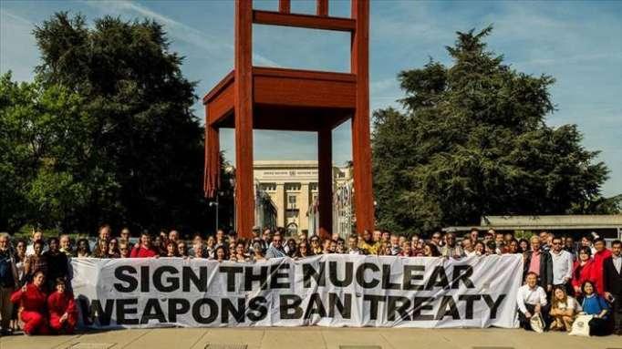 Anti-nuke demonstration held outside UN Geneva office