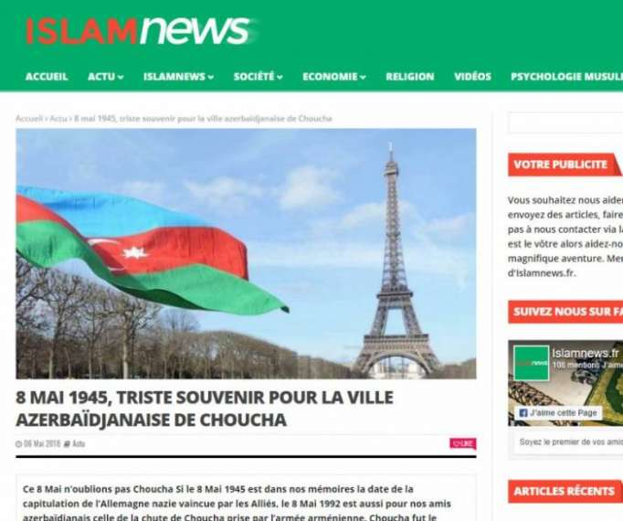 Le site IslamNews publie un article sur l'occupation de Choucha par l'Arménie