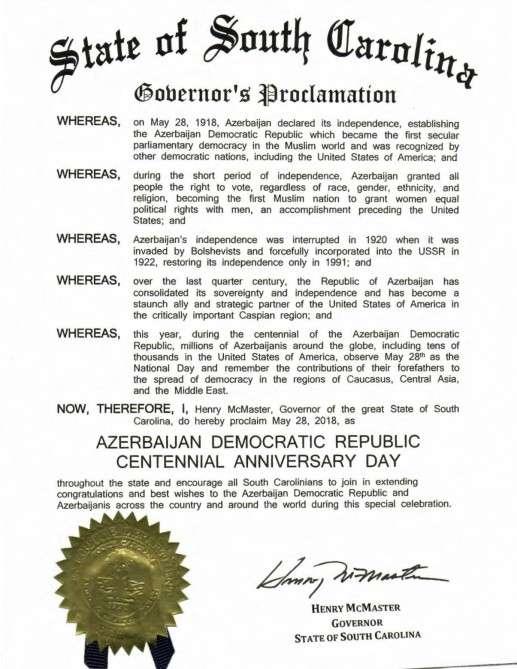 Gouverneur des US-Bundesstaates South Carolina Proklamation zum 100. Jahrestag der ADR